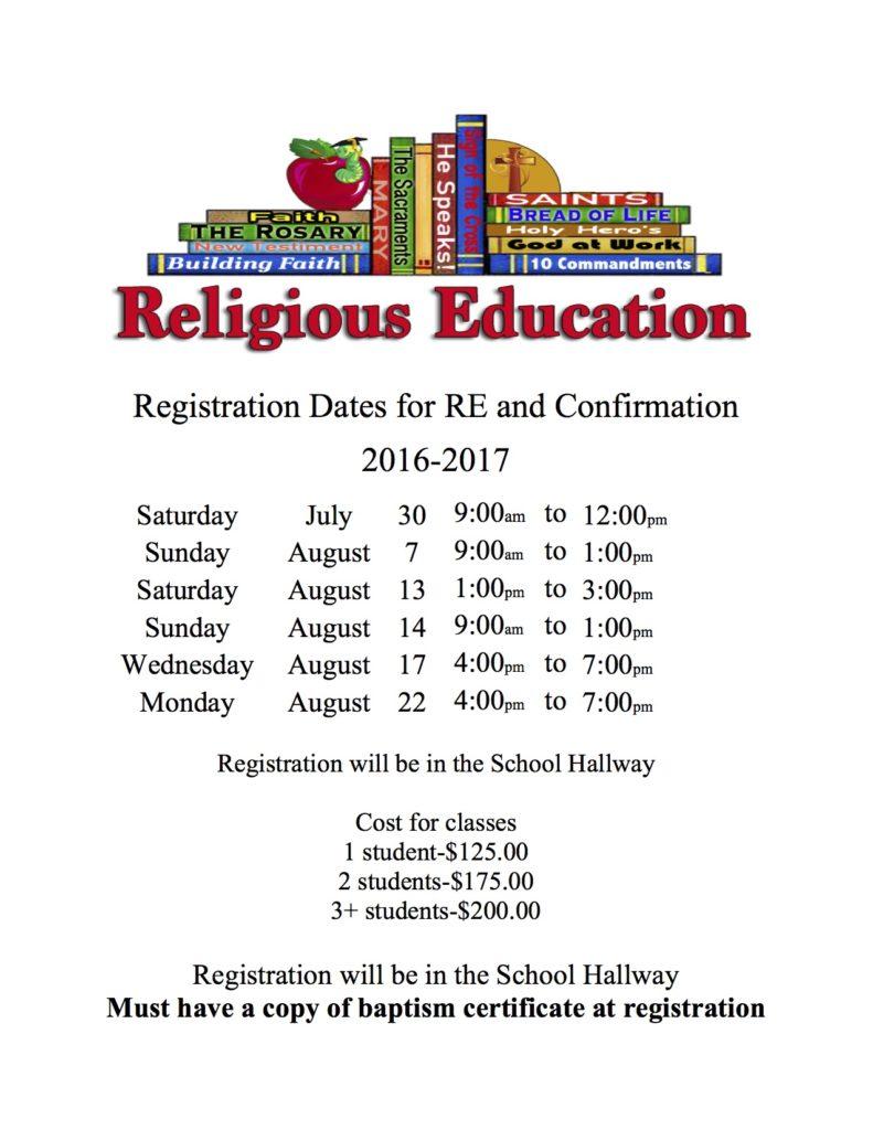 A - Registration Dates flyer 2016-2017